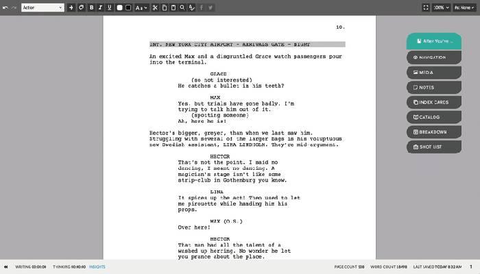 Software para escribir guiones Celtx