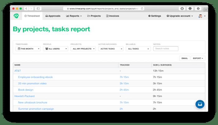 TimeCamp software para asesorías