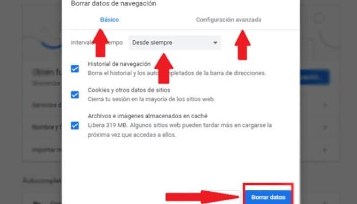 """Haz clic en """"Borrar Datos del historial"""""""