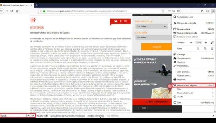 Buscar palabras en una página usando Mozilla Firefox