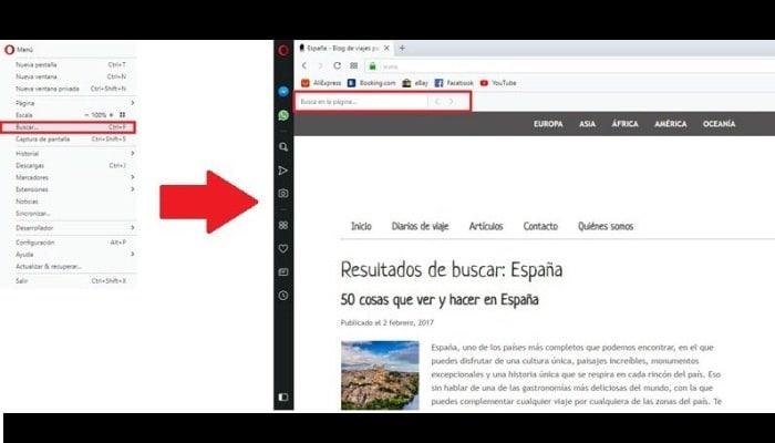 Buscar palabras en una Web con Opera