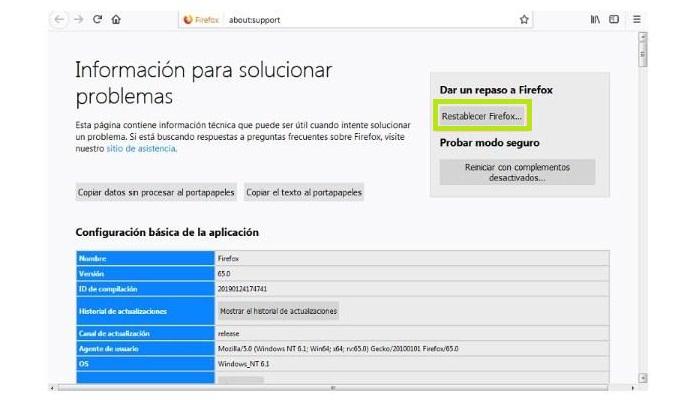 Restablecer el navegador