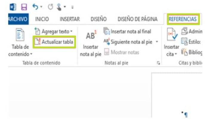 """Haz clic en """"Referencias """" y """"Actualizar tabla"""""""