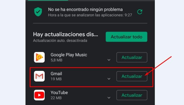 actualizar Gmail