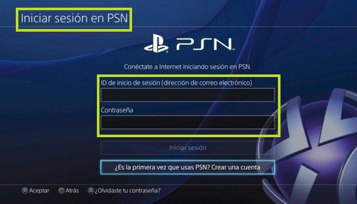 Inicia seción en PSN