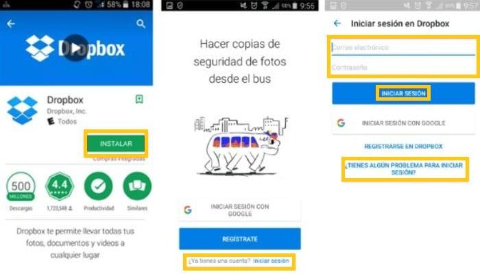 Ingresar a Dropbox desde la aplicación
