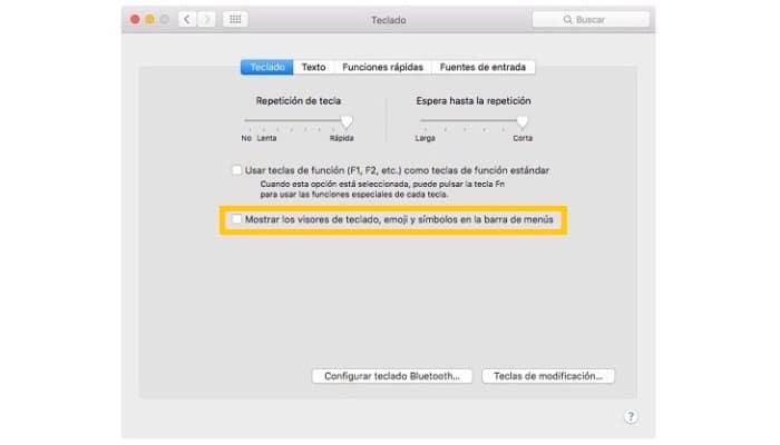 Marca el encasillado Mostrar los visores de teclado