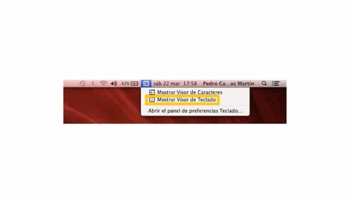 Selecciona Mostrar visor de teclado