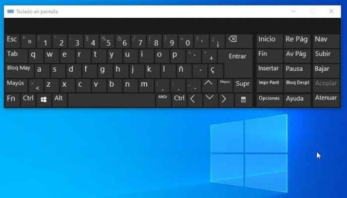 Teclado en la pantalla del computador