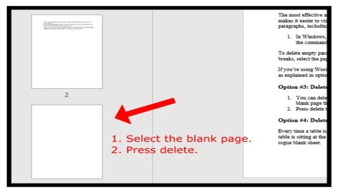 Cómo borrar una página o un espacio en blanco de Word