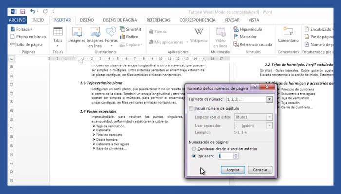 cómo agregar un número de página en word