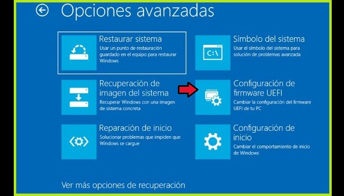 """Haz clic en """"Configuración del firmware UEFI"""""""