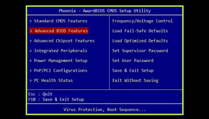 """Busca la sección """"Advanced BIOS Features"""""""