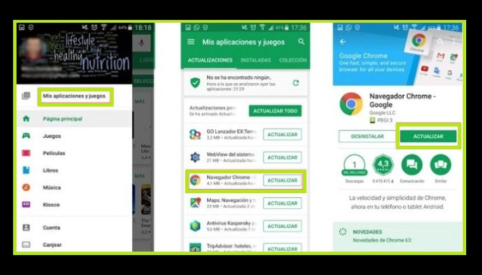 Actualizar Google Chrome en Android