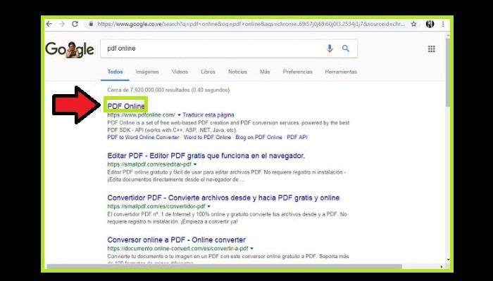 """En el navegador coloca """"PDF Online"""""""
