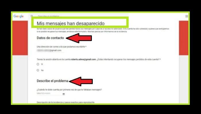 Pide a Google que trate de recuperar los correos electrónicos