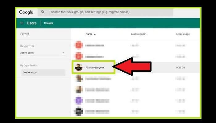 Haz clic en el usuario de la lista