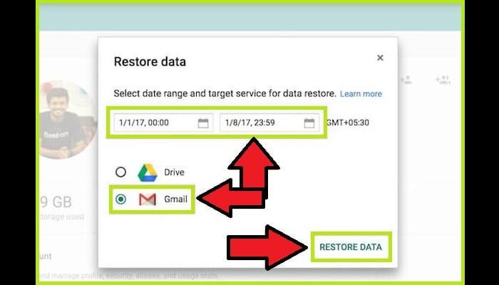 """Presiona en """"Restaurar datos"""""""