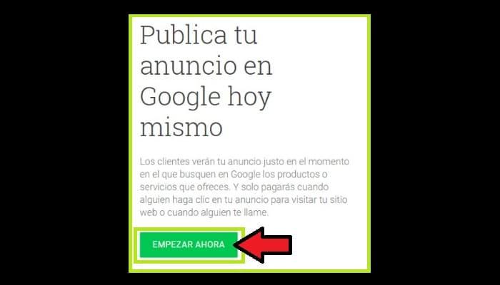 Haz clic en el botón verde con el texto Empezar ahora.
