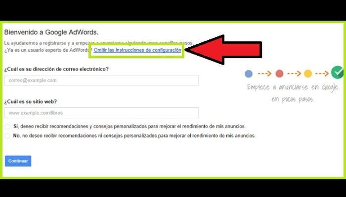 """Haz clic en """"Omitir las instrucciones de configuración"""""""