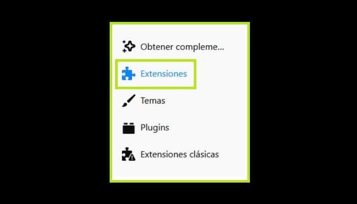 "Ve a ""Extensiones"""
