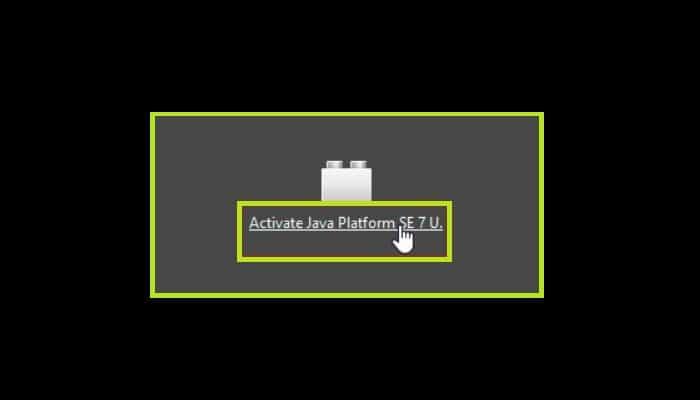 "Haz clic en ""Activar Java Platform..."""