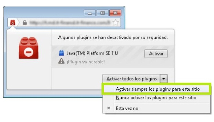 "Haz clic en ""Activar Java"""