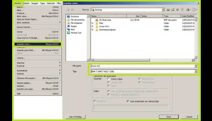 Elige el formato BMP y coloca la extensión .ico