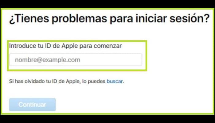 Escribe tu ID de Apple en la casilla que aparece en la pantalla
