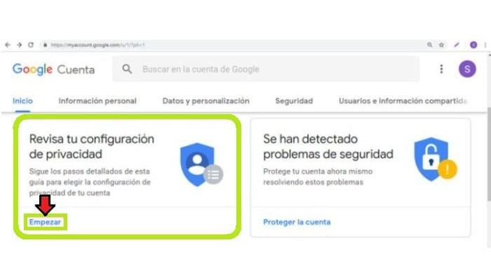 Verifica la configuración de la privacidad