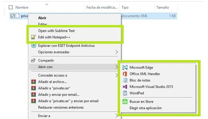 Archivo XML en el sistema operativo Windows