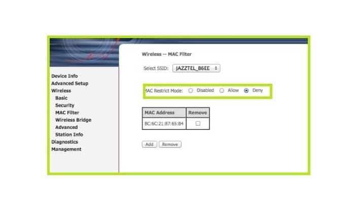 """Filtro Mac / Mac Filtering"""" o """"Restricción de acceso / Access Restriction"""