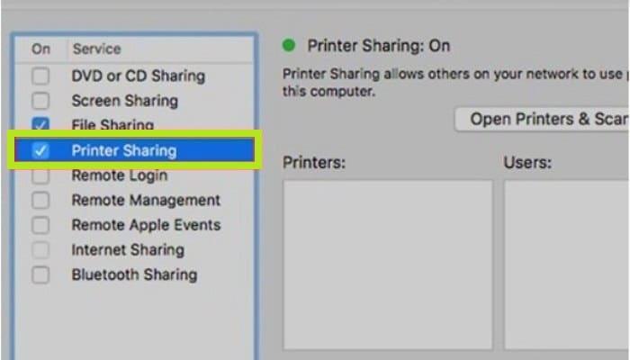"""Elige la opción """"Compartir impresora"""""""