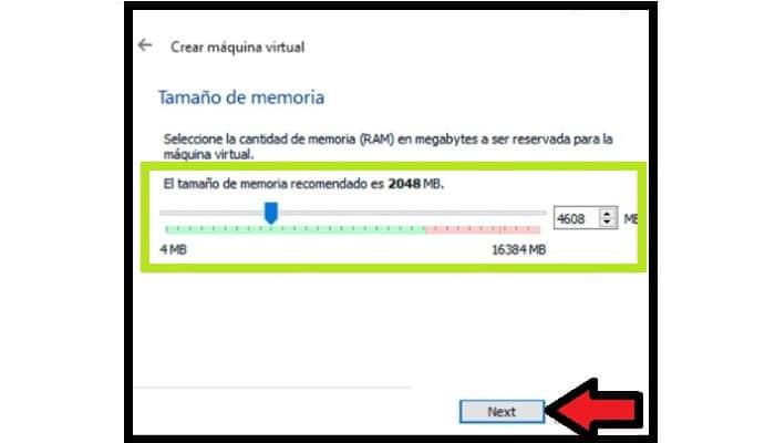 Selecciona la cantidad de RAM que deseas usar