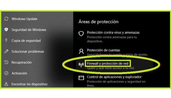 """Ve a """"Firewall y Protección de Red"""""""