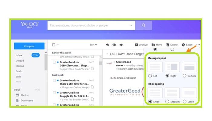 personalizar una bandeja de entrada de Yahoo