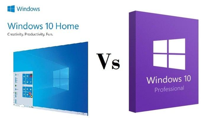 Windows 10 Pro contra Windows 10 Home