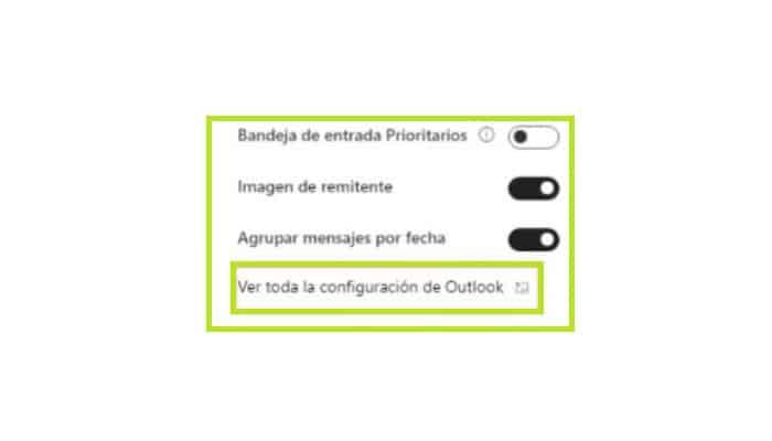 Ver todas las configuraciones en Outlook