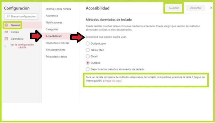 Función de atajos y métodos de teclado en Outlook