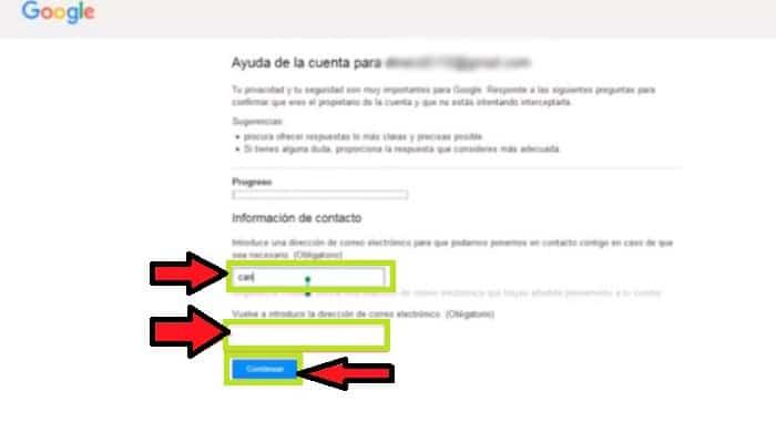 Gmail te enviará un enlace para cambiar tu contraseña