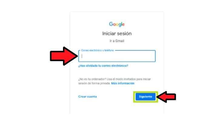 Página de inicio de Gmail